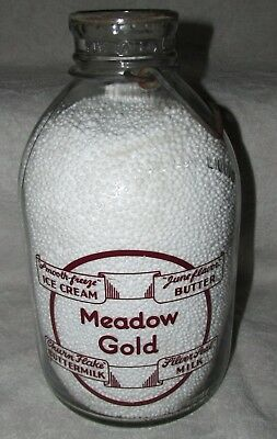 Meadow Gold One Gallon Milk Bottle Jug Smooth Freeze Silver Seal Churn Flake