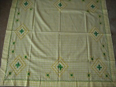 Vintage Yellow Checked Gingham Tablecloth with Cross Stitch Embroidery