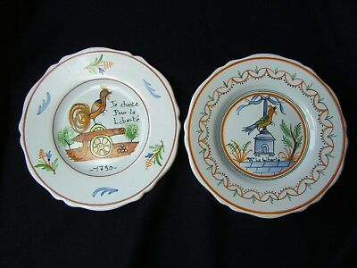 Pair of Vintage French Faience (Nevers) salad or dessert plates