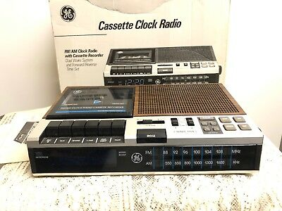 Vintage GE AM/FM Clock Radio Cassette Player Recorder # 7-4956 With Box & Papers