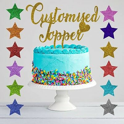 Custom Personalised Glitter Cake Topper Any Word Name Customised Gold Birthday