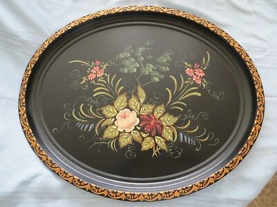 """Vintage Metal Toleware Tole Tray Extra Large Oval Floral  28 1/2"""" x 23 1/4"""""""