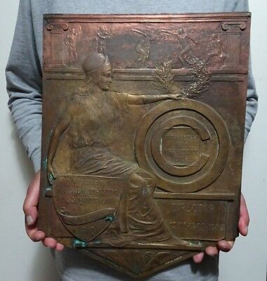 Original 1910 Bronze Historical Chicago Athletics Ass. Sign W Cubs Baseball Logo