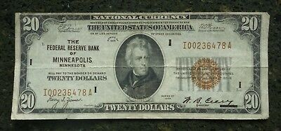 1929 $20 NATIONAL CURRENCY FEDERAL RESERVE BANK of MINNEAPOLIS BROWN SEAL
