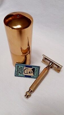 Vintage Jarco Travel Canister w/ Gillette '46-50 Thin Handle Ball End Tech Razor