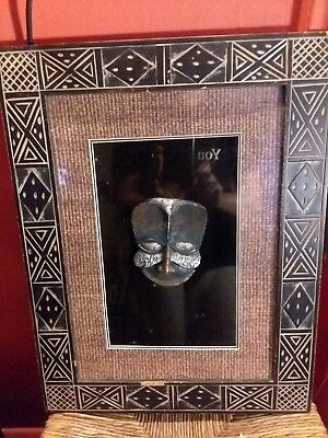 "UNIQUE AfricanFramed shadow box,Tribal Mask . ""30x40"""
