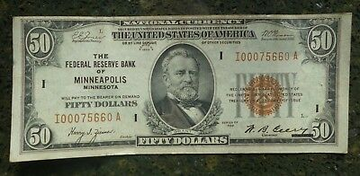 1929 $50 NATIONAL CURRENCY FEDERAL RESERVE BANK of MINNEAPOLIS BROWN SEAL