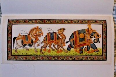 INDIAN SILK PAINTING - Elephants - Hand-painted
