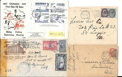 Stamps > Latin America > Other covers: Canada 1898, 1917, 1967, Costa Rica 1943,