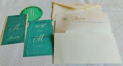 Awesome! Rare! 1960's Vintage Manhattan Hotel Stationary Soap & Luggage Label !