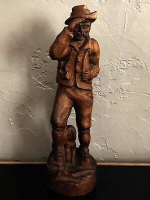 German Antique Black Forest Style Wood Carving Woodsman Hunter Dog Shotgun Rifle