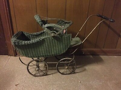 vintage wicker doll carriage