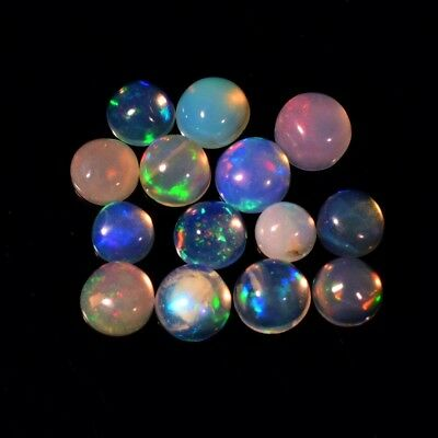 14pcs Lot 2.11ct Round Cabochon Natural Play-of-Color Crystal Opal