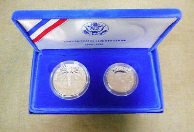 #Ff4.  1986 Usa One Dollar & Half Dollar Proof Coins