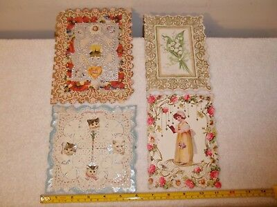 Vtg Lot Of 4 Very Old Victorian Era Valentine Cards Lot #8 Late 1800's? 1900's?