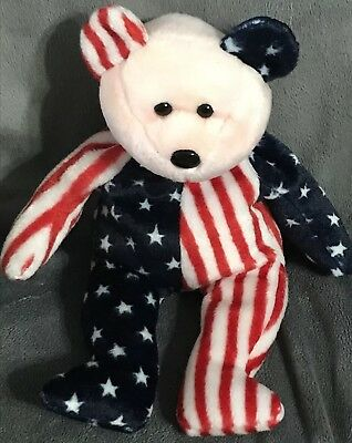 """1999 Ty Original Beanie Babies SPANGLE The Patriotic Bear Red Face 9"""" Gift B54"""
