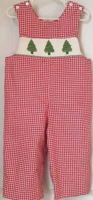 188325733 Anavini Hand Smocked Boys 24 Month Longall Romper Red Houndstooth Christmas  Tree