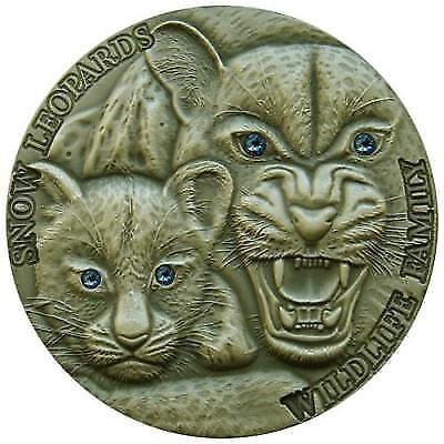 Niue 2015 1$ Wildlife Family Snow Leopards 1Oz Antique finish Silver Coin