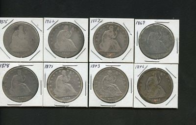 U.S. 90% Silver Seated Halves Lot-8 Diff. 1843-1878-fair to VF-mixed grades