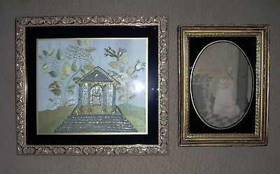 Two Antique Early 19Th Century American Memorial  / Mourning Silk Embroideries