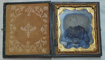 Antique Cased Ambrotype Photo Sixth Plate Old Woman G. Grandma Steiner Born 1799