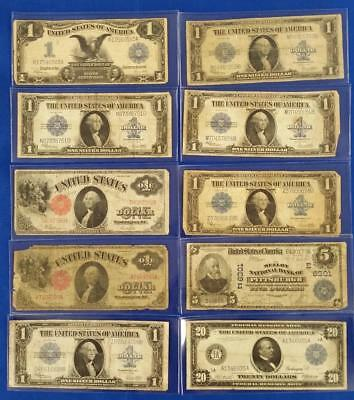 10-Piece US LARGE Size Note lot 1899 $1/1902 NY $5 Nat./1914 $20 frn/2-1917+more