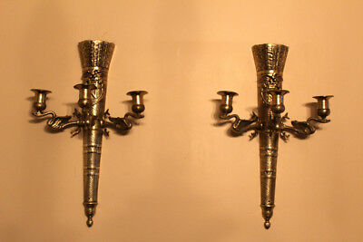 Vintage Brass Bronze French Empire Style Torchiere 3 Arm Wall Sconce Swan Arms