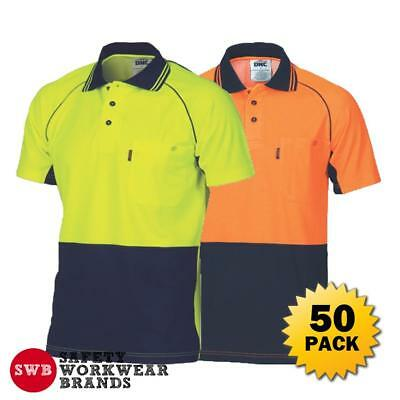 50 x DNC Workwear Mens Hi Vis Cotton Back Cool Contrast Piping Polo Shirt 3719