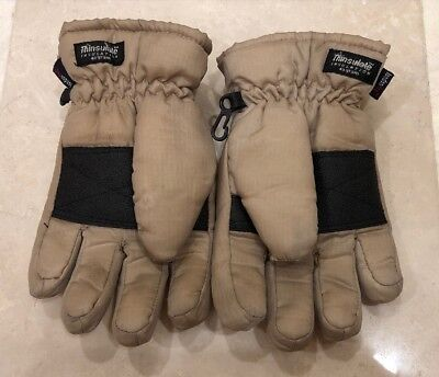 Thinsulate London Fog Winter Gloves Boys Youth Tan / Black ~ Size Small (4-7)