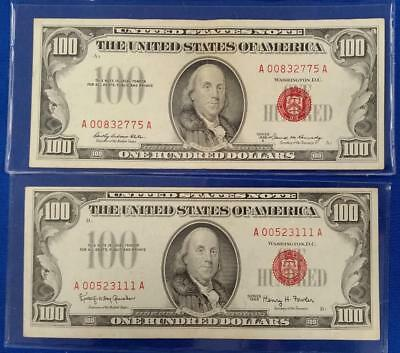 1966/1966-A $100 RED SEAL U.S. NOTES 2 notes            L3390