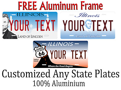 Illinois State License Plate Personalized Custom Any Name Or Text