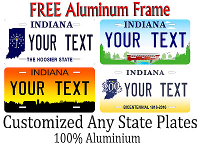 Indiana State License Plate Personalized Custom Any Name Or Text