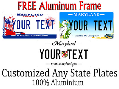 Maryland State License Plate Personalized Custom Any Name Or Text
