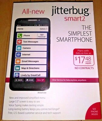 Jitterbug - Smart2 16GB Memory Prepaid Cell Phone - Black (GreatCall) $149 - NEW