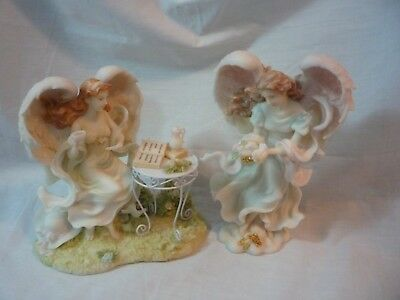 seraphim classic by roman angels x 2 angel figurines-angels beautiful mint