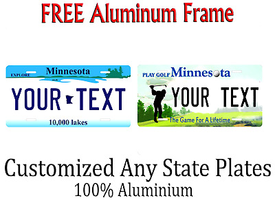 Minnesota State License Plate Personalized Custom Any Name Or Text