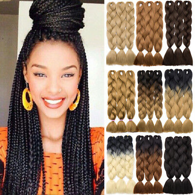 100g/pc African Ombre Kanekalon Jumbo Braiding Hair Extensions Crochet AU HB50