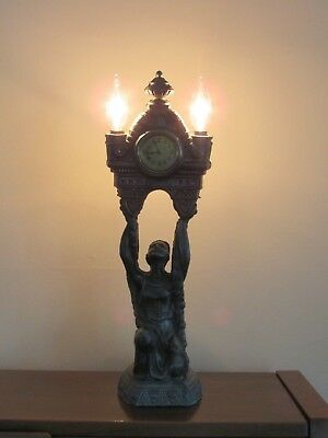 Beautiful Antique Gold cast Metal Art Nouveau Maiden Light and clock Works!!!!!!