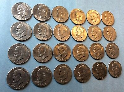 President Eisenhower 1974 Dollar Lot 24 Coins, Nice Circulated to AU Condition!