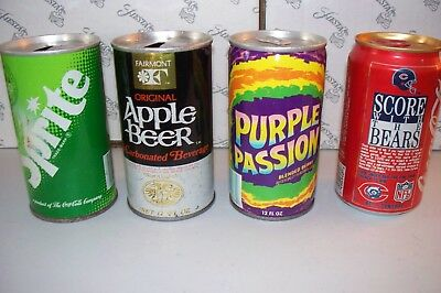Assorted vintage Coke Chicago Bears Sprite Purple Passion cans