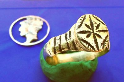 CV Roman Bronze Ring AWESOME LEGIONARY WARRIOR STAR ~ Great Color ~ size 10