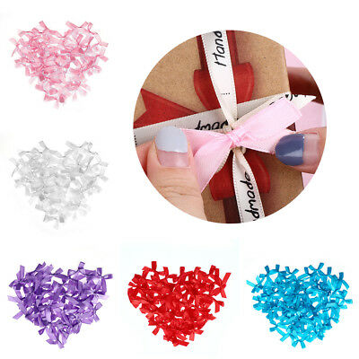 100pcs/set Small Satin Ribbon Bow Appliques Sewing Craft DIY Kids Girl Headwear
