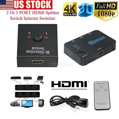 3D 1080p 3 Port 4K HDMI Switch Switcher Selector Splitter Hub iR Remote For HDTV