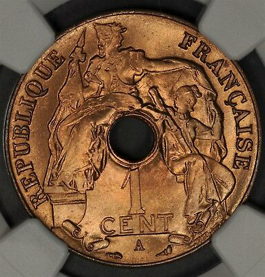 1920-A Ngc Ms65Rd French Indo-China Cent Km-12.1