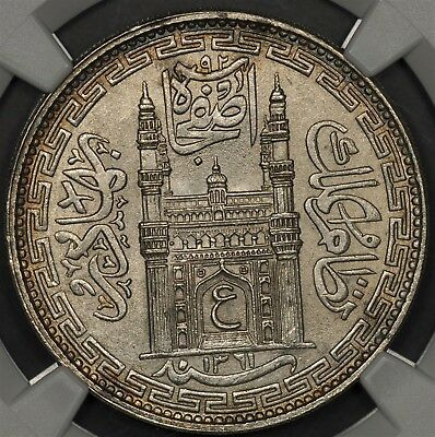 Ah1361 Year 32 (1942) Ngc Ms64 India Princely States Hyderabad Rupee Km Y-63