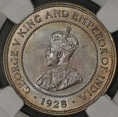 1928 Ngc Ms64 Jamaica Half 1/2 Penny Color Toned