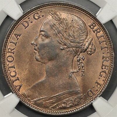 1890 Ngc Ms64Rb Great Britain Penny