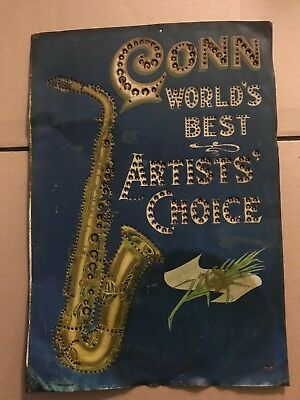 "Vintage ""conn Saxophone"" Tin Adverstisment Sign"