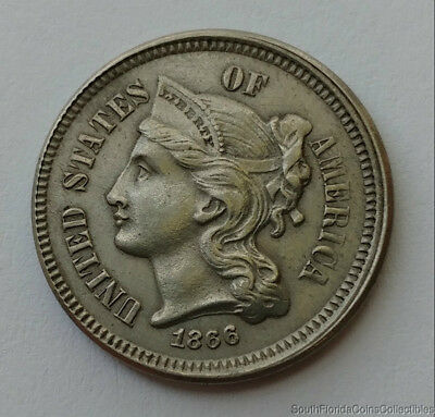 RARE 1866 OFF CENTER and DOUBLE DATE! Three Cent Nickel Extra Fine Condition