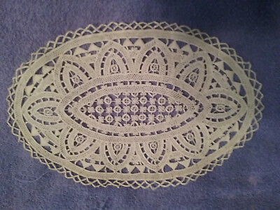 OLD Vintage Antique handmade NEEDLE LACE doily